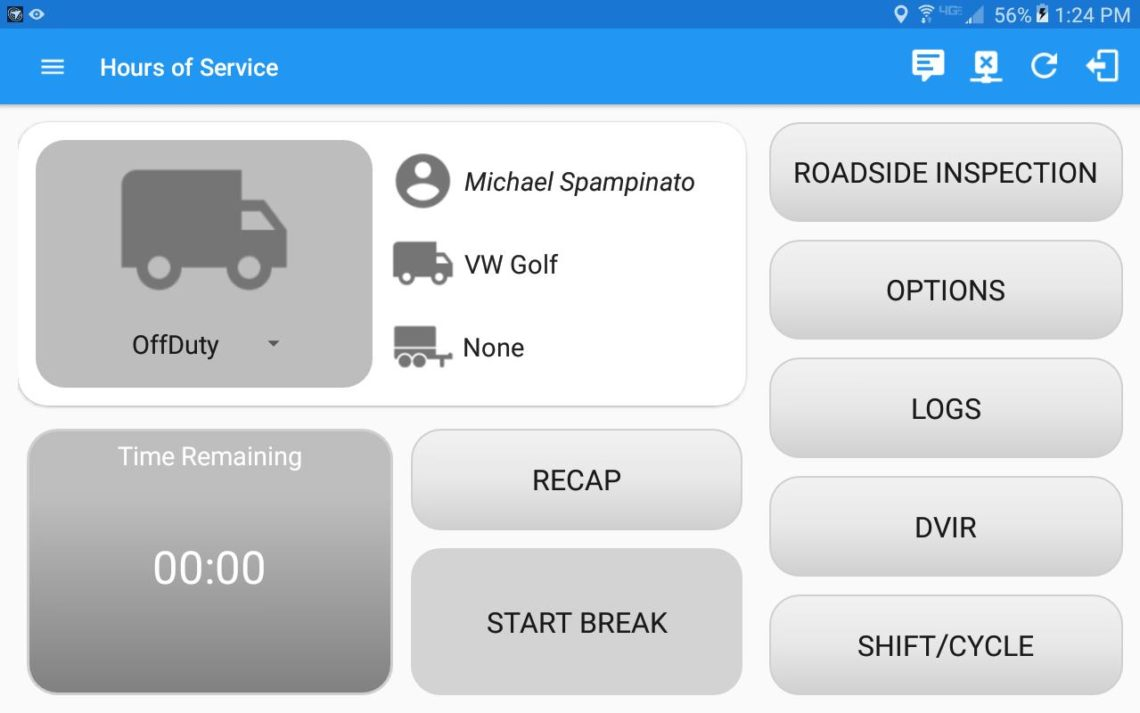 Hours of Service Option of InTouch ELD
